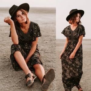 Piper & Scoot Mixed Print Floral Maxi Dress L